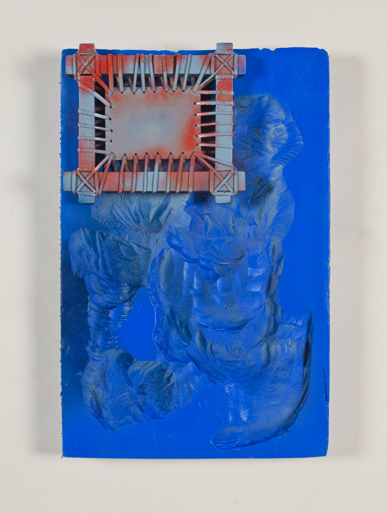 Untitled (Blue Monochrome with Orange Leather Object)